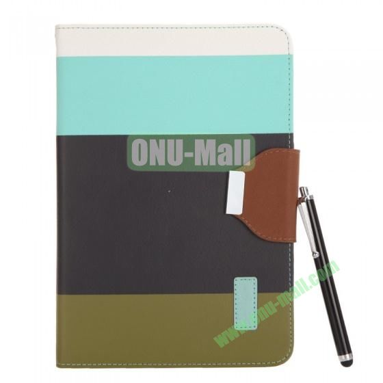 Color Mixing Leather Case Cover for iPad Mini With a Touch Pen(Blue+Black+Dark Green)