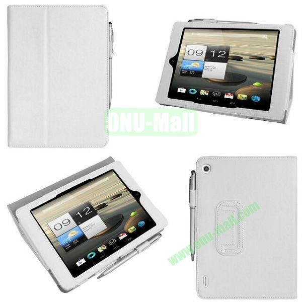 New Arrival Stand Leather Cover for Acer Iconia A1-810 with Pen Container (White)