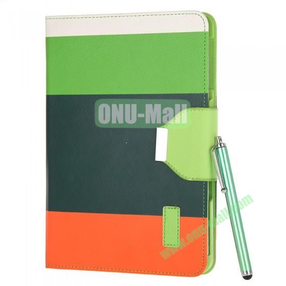 Color Mixing Leather Case Cover for iPad Mini With a Touch Pen(Green+Dark Blue+Orange)