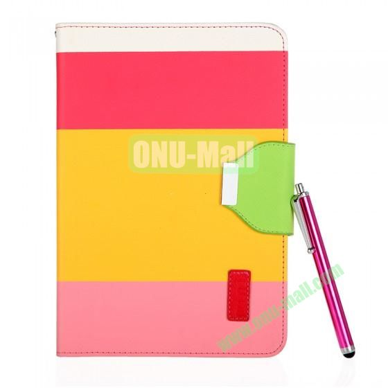 Color Mixing Leather Case Cover for iPad Mini With a Touch Pen(Rose+Yellow+Pink)