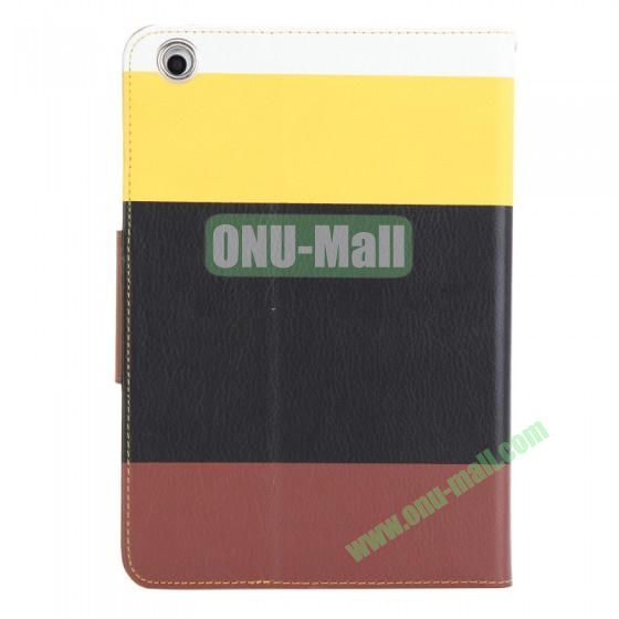 Color Mixing Leather Case Cover for iPad Mini With a Touch Pen(Yellow+Black+Brown)