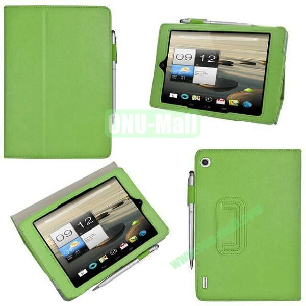 New Arrival Stand Leather Cover for Acer Iconia A1-810 with Pen Container (Green)