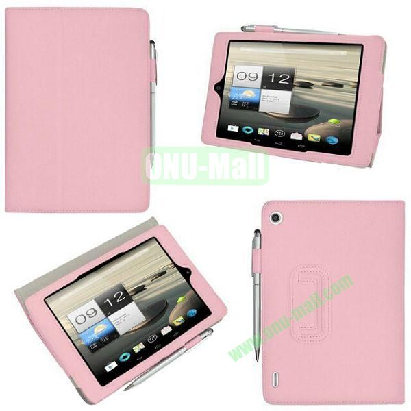 New Arrival Stand Leather Cover for Acer Iconia A1-810 with Pen Container (Pink)