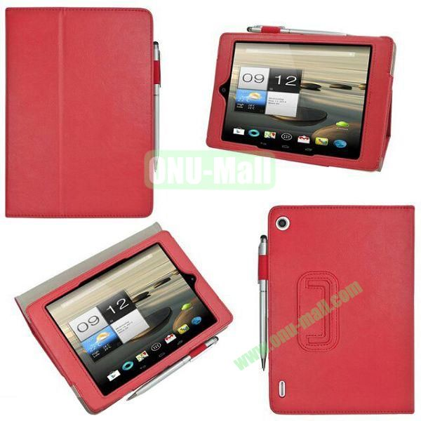 New Arrival Stand Leather Cover for Acer Iconia A1-810 with Pen Container (Red)