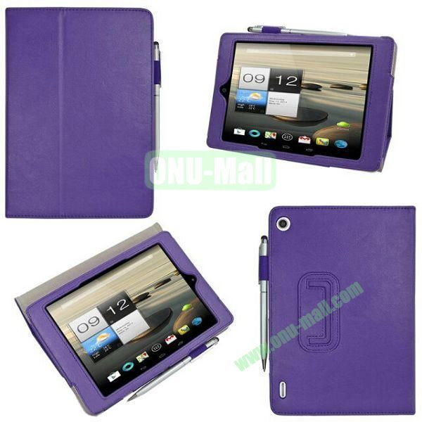 New Arrival Stand Leather Cover for Acer Iconia A1-810 with Pen Container (Purple)