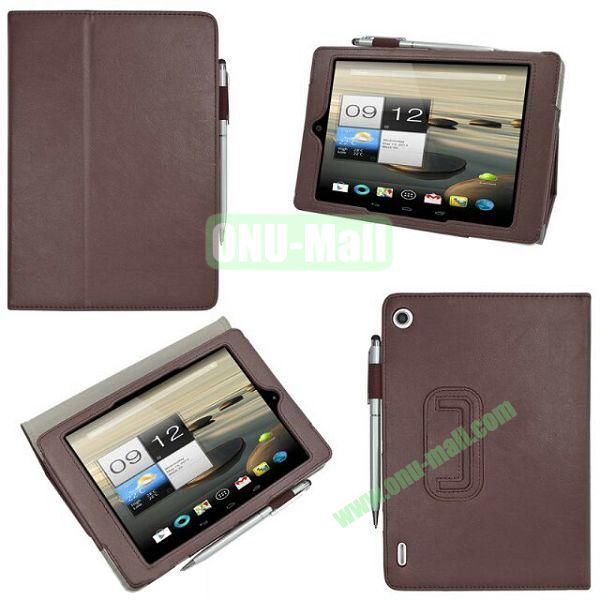 New Arrival Stand Leather Cover for Acer Iconia A1-810 with Pen Container (Brown)
