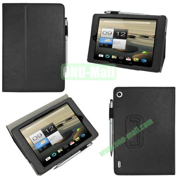 New Arrival Stand Leather Cover for Acer Iconia A1-810 with Pen Container (Black)