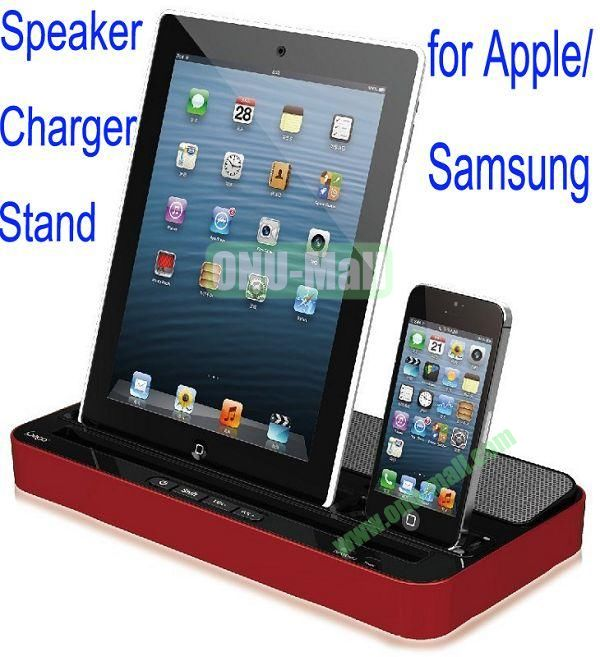 Fashionable Speaker and Charger Stand for iPad4the New iPadiPad MiniiPhone5Samsung S4, S3,etc (Red)