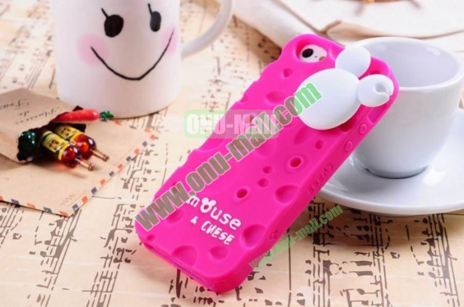 Lovely Mouse and Cheese Silicon Case Cover for iPhone 5(Rose)