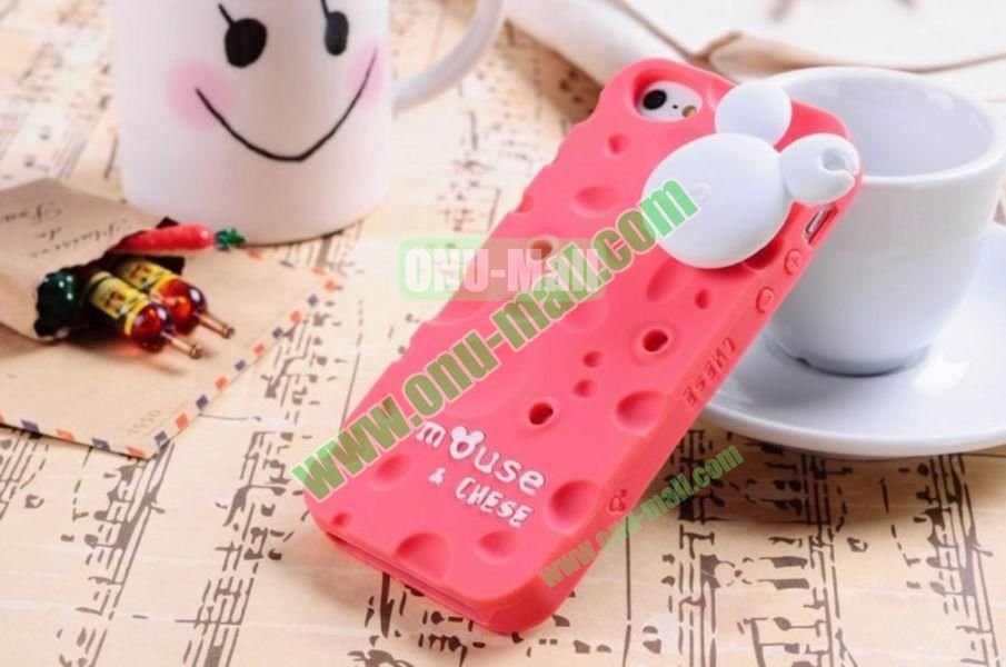 Lovely Mouse and Cheese Silicon Case Cover for iPhone 5(Red)