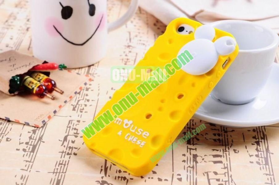 Lovely Mouse and Cheese Silicon Case Cover for iPhone 5(Yellow)