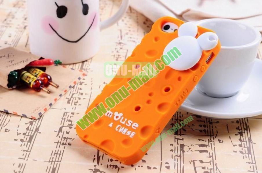Lovely Mouse and Cheese Silicon Case Cover for iPhone 5(Orange)