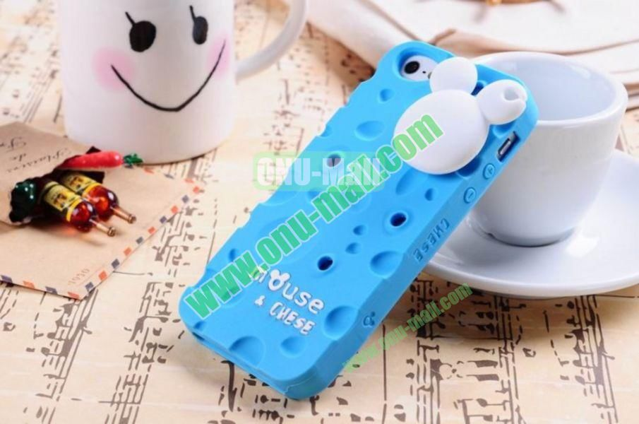 Lovely Mouse and Cheese Silicon Case Cover for iPhone 5(Blue)