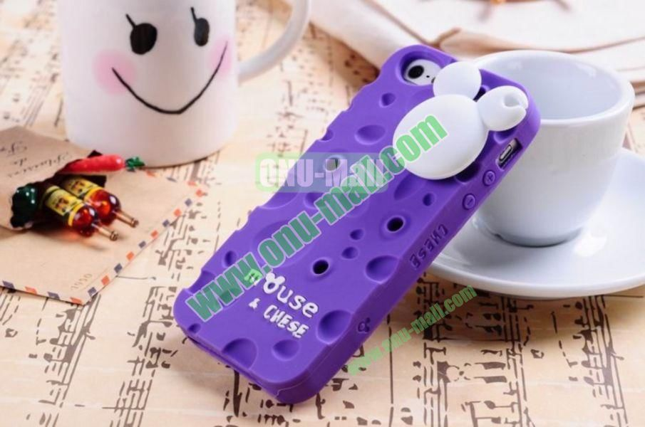 Lovely Mouse and Cheese Silicon Case Cover for iPhone 5(Purple)