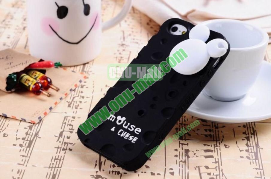 Lovely Mouse and Cheese Silicon Case Cover for iPhone 5(Black)