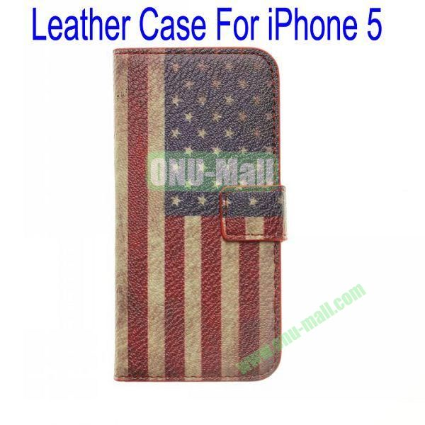 Retro USA Flag Leather Case for iPhone 5