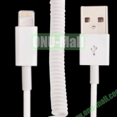 Lightning 8 pin USB Sync Charging Data  Coiled Cable for iPhone 5  iPod Touch  iPad mini (White)