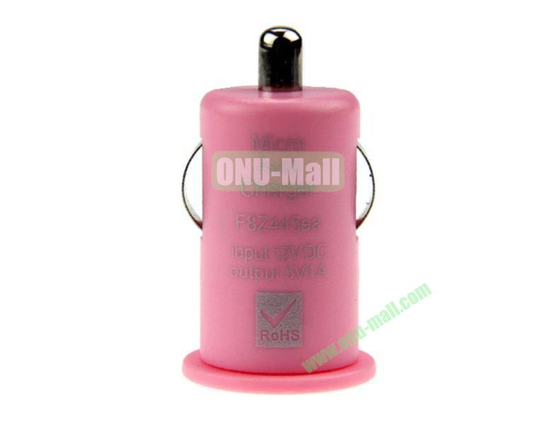 Micro Auto Car Charger for iPhone 5, iPhone 44S, Touch 5,Samsung S4,S3,S2,N7100,HTC,Blackberry,Nokia, Mobile Phones(Pink)