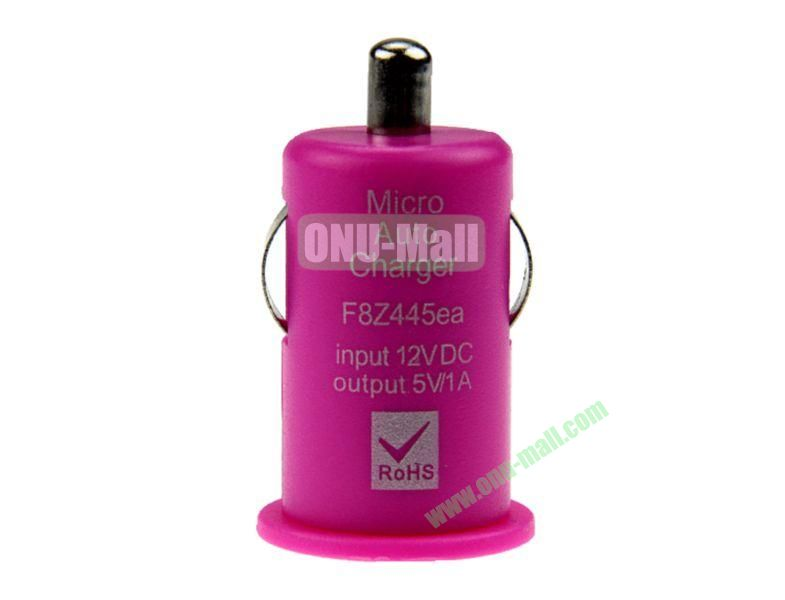 Micro Auto Car Charger for iPhone 5, iPhone 44S, Touch 5,Samsung S4,S3,S2,N7100,HTC,Blackberry,Nokia, Mobile Phones(Rose)