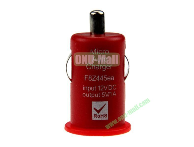 Micro Auto Car Charger for iPhone 5, iPhone 44S, Touch 5,Samsung S4,S3,S2,N7100,HTC,Blackberry,Nokia, Mobile Phones(Red)