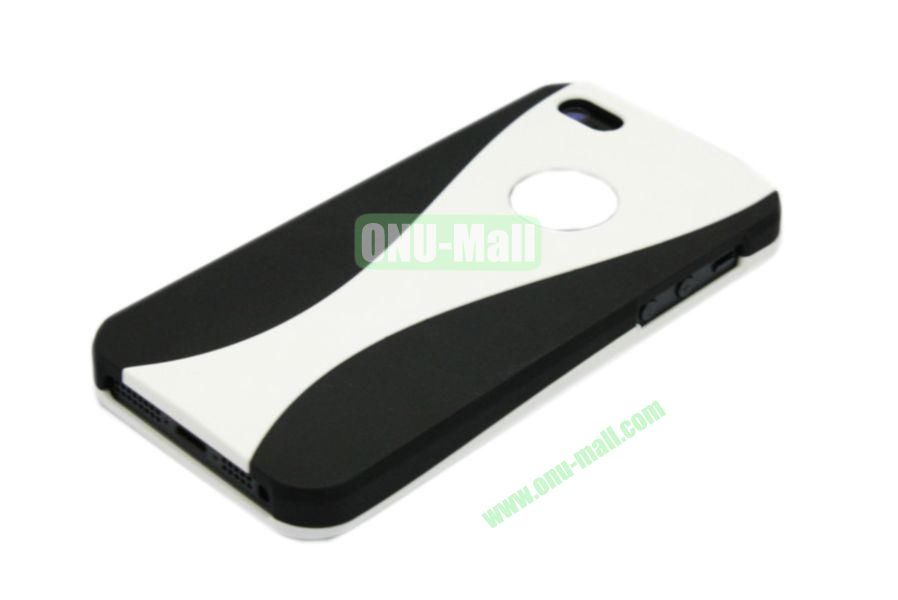 Wholesale Three in one Hybrid Dual Color Wineglass Style Design Wine Cup Shape Case for iPhone5(Black+White)