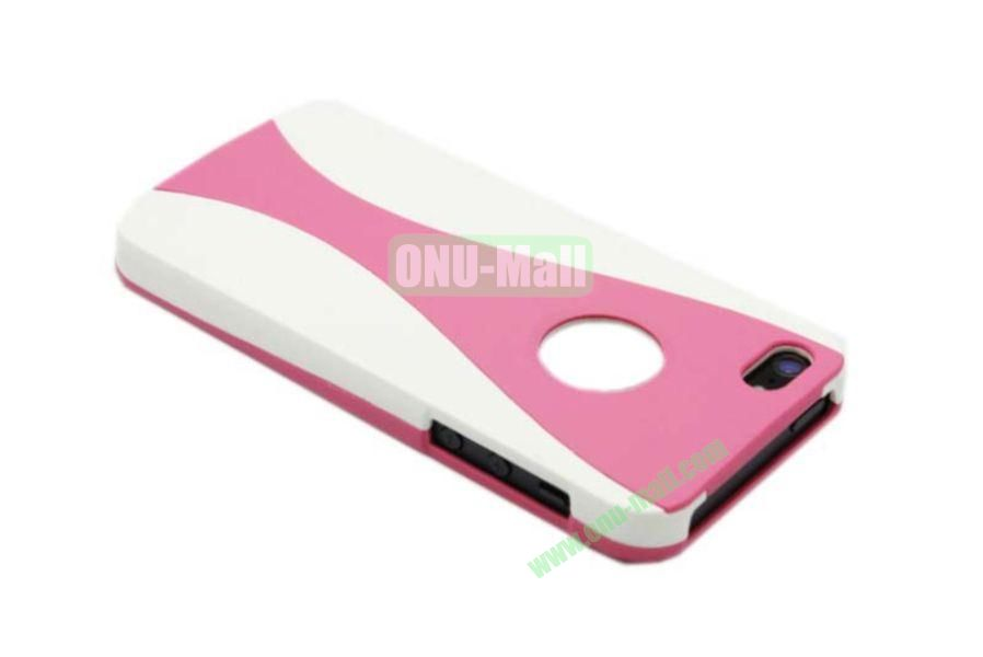 Wholesale Three in one Hybrid Dual Color Wineglass Style Design Wine Cup Shape Case for iPhone5(White+Pink)