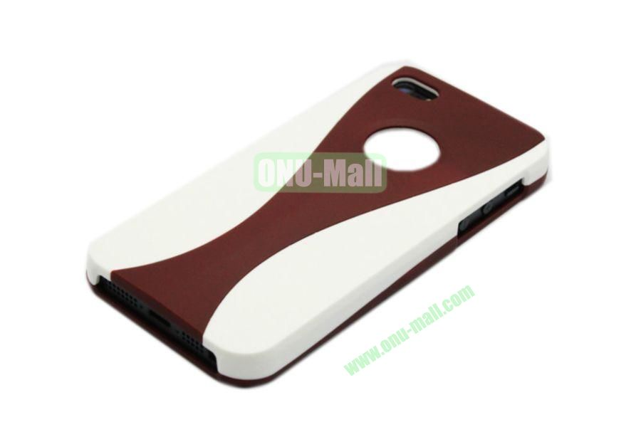 Wholesale Three in one Hybrid Dual Color Wineglass Style Design Wine Cup Shape Case for iPhone5(White+Brown)