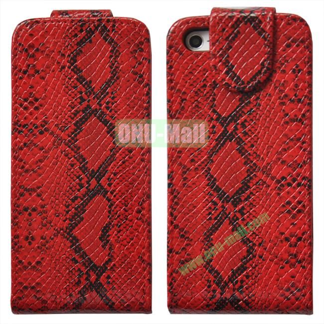High Quality Snakeskin Texture Pattern Flip Leather Cover with Card Slot for iPhone 5(Red)