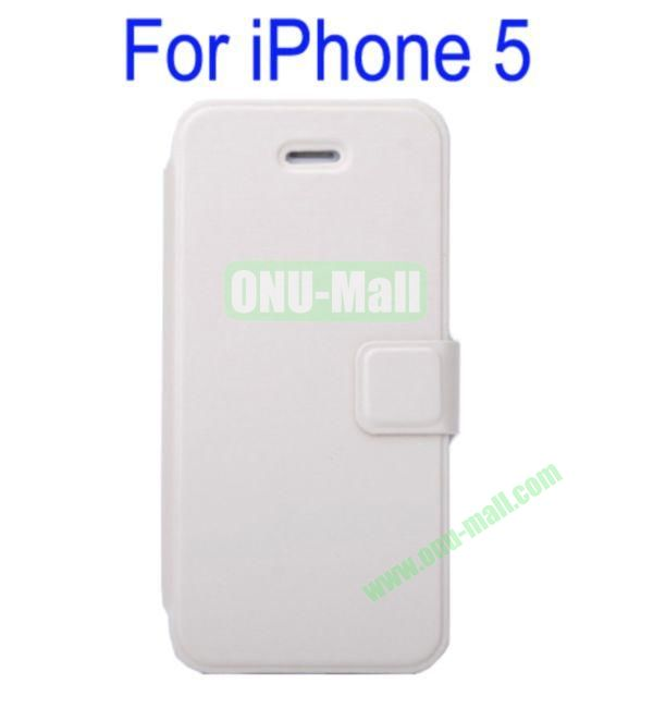 Ultrathin Magnetic Folio Stand Dormancy Case Cover for iPhone 5(White)