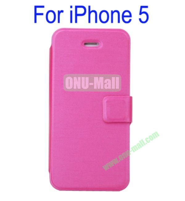 Ultrathin Magnetic Folio Stand Dormancy Case Cover for iPhone 5(Rose)