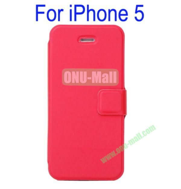 Ultrathin Magnetic Folio Stand Dormancy Case Cover for iPhone 5(Red)