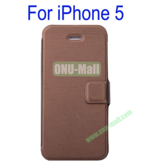Ultrathin Magnetic Folio Stand Dormancy Case Cover for iPhone 5(Brown)