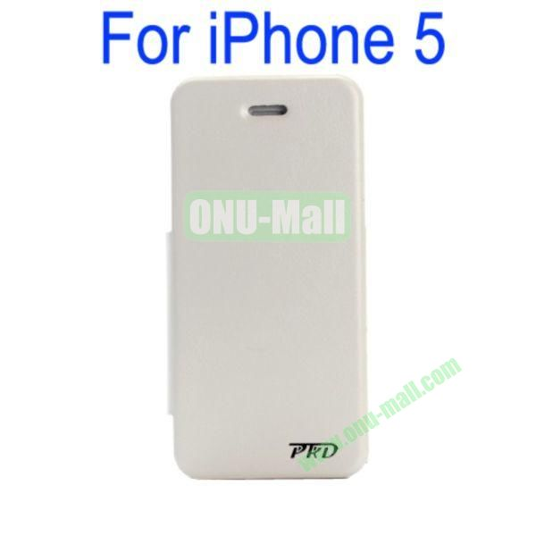Special Design Ultrathin Leather Case Cover with Stand for iPhone 5(White)