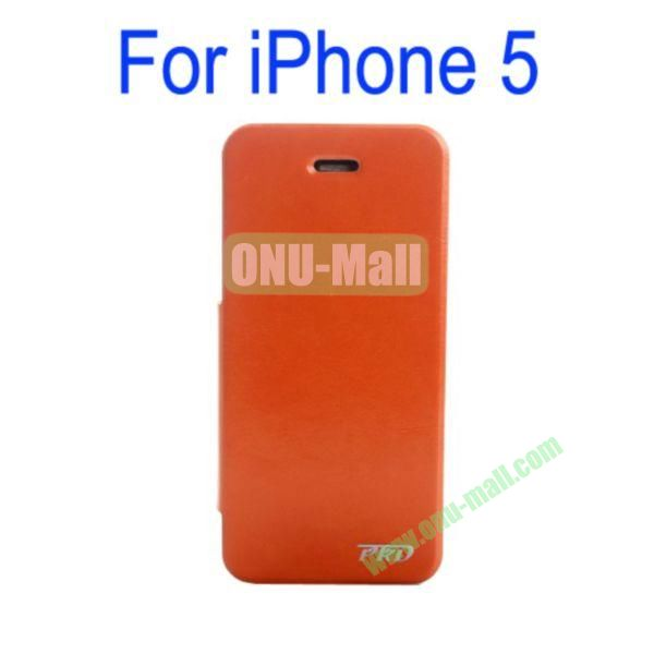 Special Design Ultrathin Leather Case Cover with Stand for iPhone 5(Orange)
