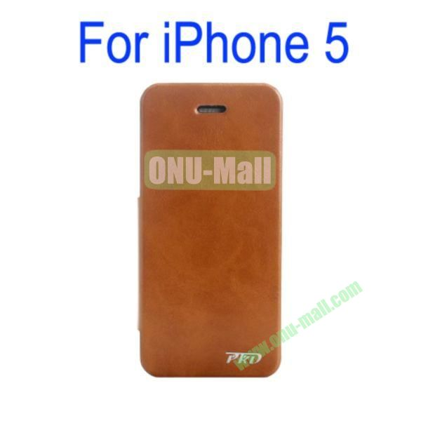 Special Design Ultrathin Leather Case Cover with Stand for iPhone 5(Brown)