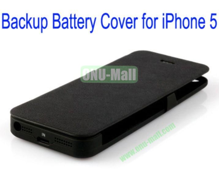 2400mAh Power Front Flip Leather Cover Back Case External Battery for iPhone 5(Black)