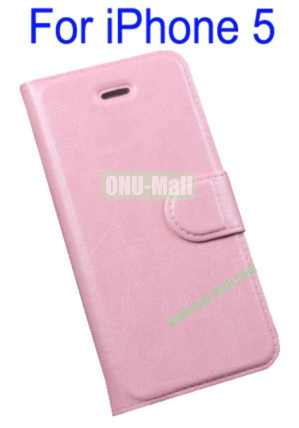 Magnetic Flip Wallet Genuine Leather Cover Case for iPhone 5 with Card Slots(Pink)