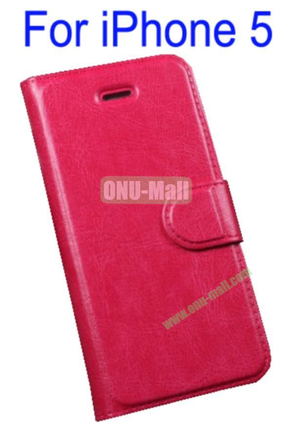 Magnetic Flip Wallet Genuine Leather Cover Case for iPhone 5 with Card Slots(Red)
