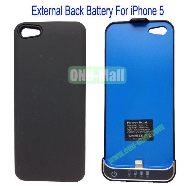 2200mAh External Back Battery Case for iPhone 5(Black)