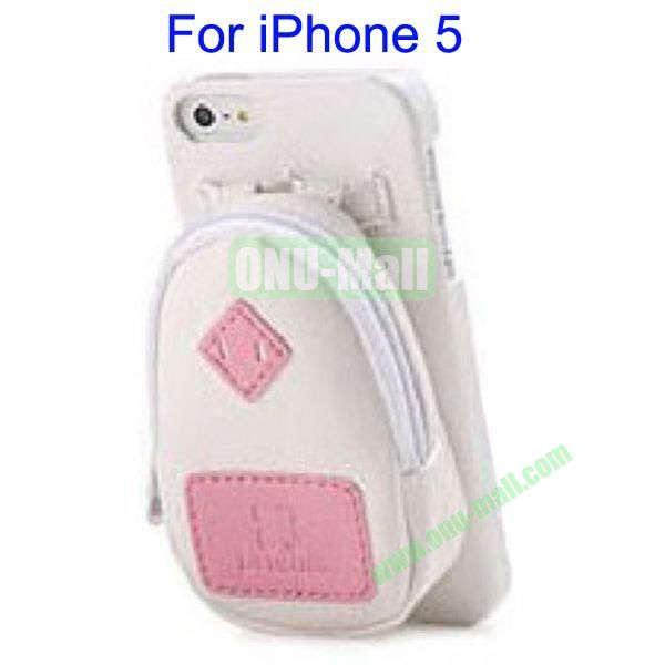 Newest Fashionable 3D Mini Backpack Case Detachable Bag Hard Back Cover For iPhone 5(White)