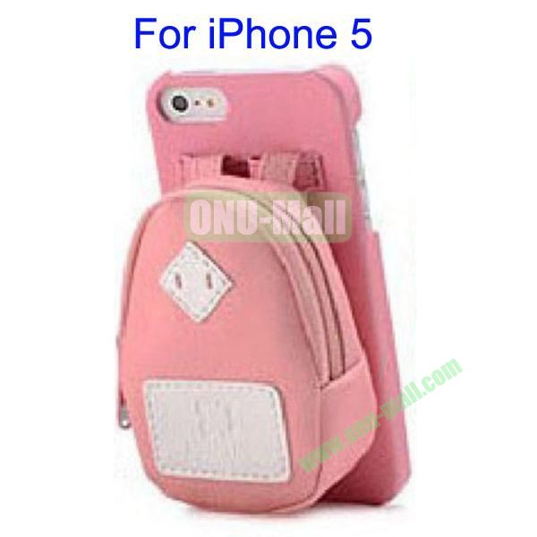 Newest Fashionable 3D Mini Backpack Case Detachable Bag Hard Back Cover For iPhone 5(Pink)