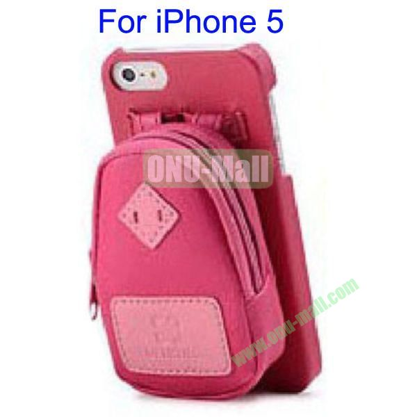 Newest Fashionable 3D Mini Backpack Case Detachable Bag Hard Back Cover For iPhone 5(Red)