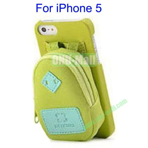 Newest Fashionable 3D Mini Backpack Case Detachable Bag Hard Back Cover For iPhone 5(Green)