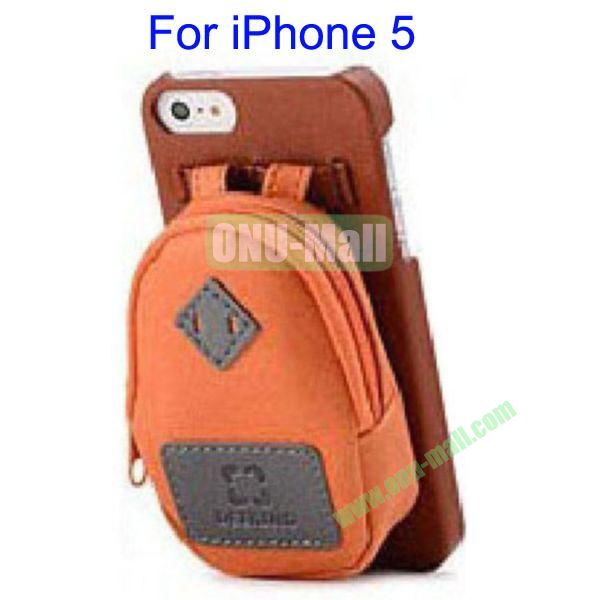 Newest Fashionable 3D Mini Backpack Case Detachable Bag Hard Back Cover For iPhone 5(Brown)