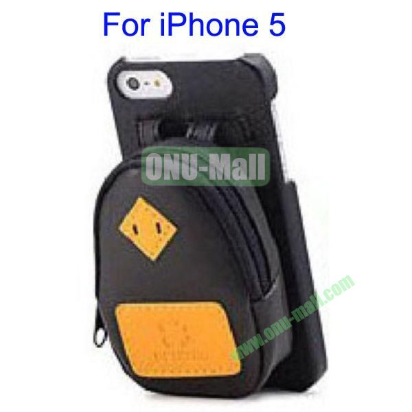Newest Fashionable 3D Mini Backpack Case Detachable Bag Hard Back Cover For iPhone 5(Black)