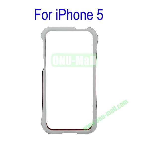 Color Mixing Plastic Frame Case Cover for iPhone 5(White+Red)