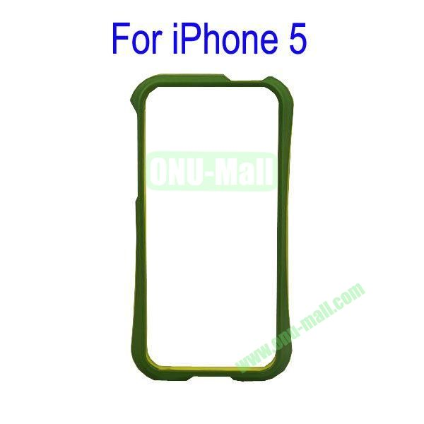 Color Mixing Plastic Frame Case Cover for iPhone 5(Green+Yellow)
