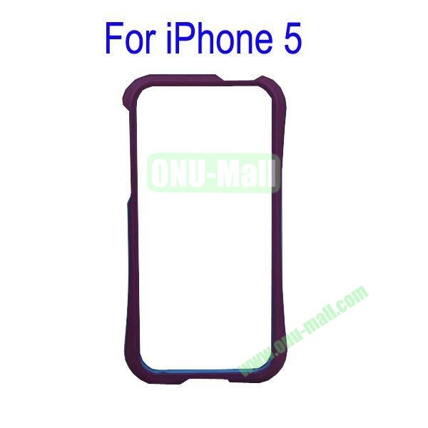 Color Mixing Plastic Frame Case Cover for iPhone 5(Purple+Blue)