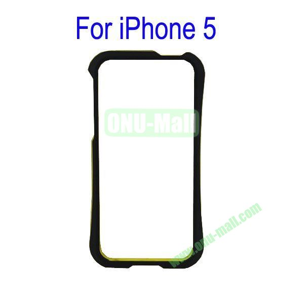 Color Mixing Plastic Frame Case Cover for iPhone 5(Black+Yellow)
