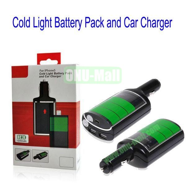 For iPhone 5 Cold Light Battery Pack and Car Charger